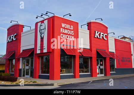 ATLANTA, GEORGIA, USA - MARCH 19, 2019: KFC Kentucky Fried Chicken fast food restaurant. American restaurant chain, specializing in fried chicken. - Stock Photo