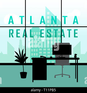 Atlanta Real Estate Apartment Shows Property Investment In Georgia. United States Housing Market 3d Illustration - Stock Photo
