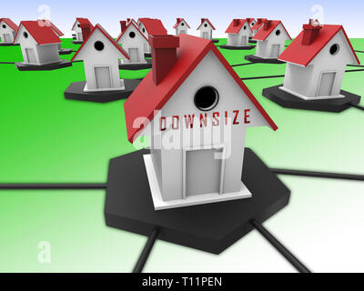 Downsize Home Symbol Means Downsizing Property Due To Retirement Or Budget. Find A Tiny House Or Apartment - 3d Illustration - Stock Photo