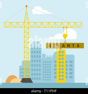 Atlanta Property Construction Shows Real Estate Residential Buying. Home Ownership In The United States 3d Illustration - Stock Photo