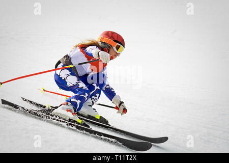 young skier in action in slalom ski competition downhill - Stock Photo