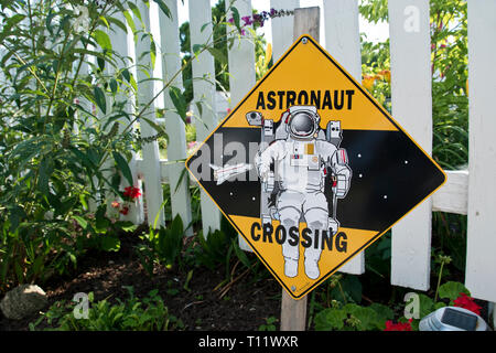 Astronaut crossing sign at the boyhood home of Apollo 11 astronaut Neil Armstrong, the first man to step on the moon, at Wapakoneta, Ohio. - Stock Photo