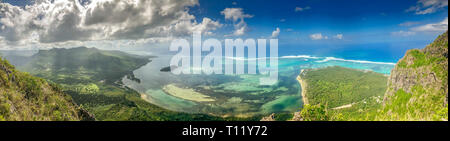 view on small island from le morne mountain on mauritius island - Stock Photo