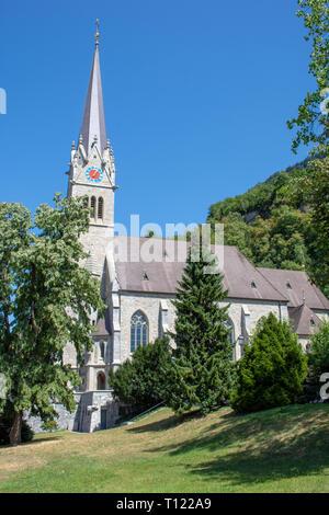 'Vaduz, Vaduz/Liechtenstein -  08/09/2018: Vaduz Cathedral in Liechtenstein near Switzerland on a sunny day with blue skies.' - Stock Photo