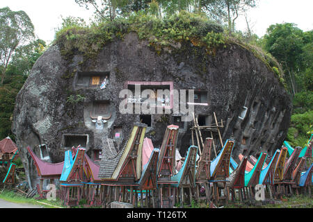 Traditional burial ground in Tana Toraja Sulawesi, Indonesia - Stock Photo