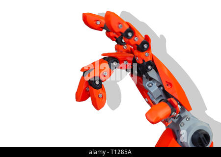 closeup robot hand made from plastic 3d printer isolated on white background. - Stock Photo