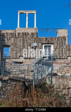 PLOVDIV, BULGARIA - FEBRUARY 10, 2019: Ruins of Roman theatre of Philippopolis in city of Plovdiv, Bulgaria - Stock Photo