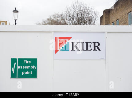 Kier Group signage on a buildi ng site in London, UK - Stock Photo