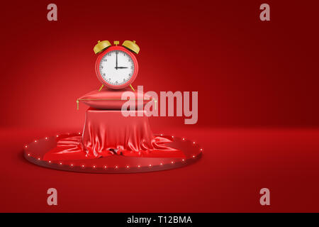 3d rendering of red alarm clock on red cushion and pedestal covered with red cloth on red background - Stock Photo