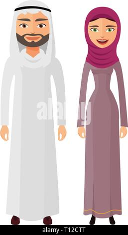 Arab couple man and woman together happy in traditional national clothes dress costume vector isolated - Stock Photo