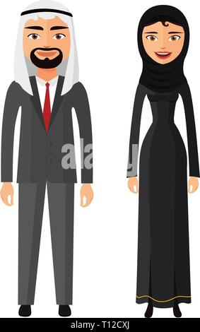 Arab couple man and woman together in traditional national clothes dress costume vector isolated - Stock Photo