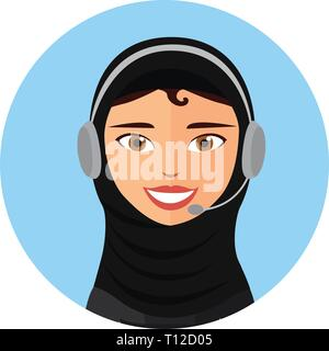 Female call center operator with headset icon client services web design communication customer support phone assistance vector illustration eps 10 - Stock Photo