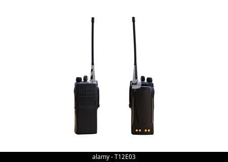 Portable radio transmitter on a white background, with clipping path transmitter, radio, portable set, portable radio set, portable radio transmitter, - Stock Photo