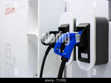 BRNO, CZECH REPUBLIC – March 20, 2019: Power plug for charging electric car at 27th International Trade Fair Amper 2019 of technologies in Brno exhibi - Stock Photo