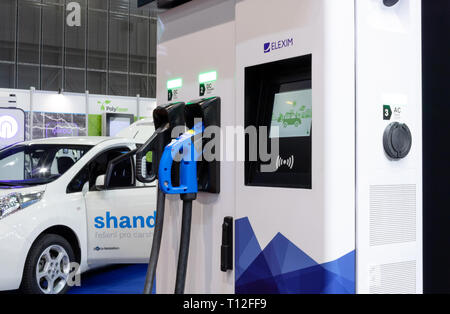 BRNO, CZECH REPUBLIC – March 20, 2019: Charging station with plug for charging electric car at 27th International Trade Fair Amper 2019 of technologie - Stock Photo