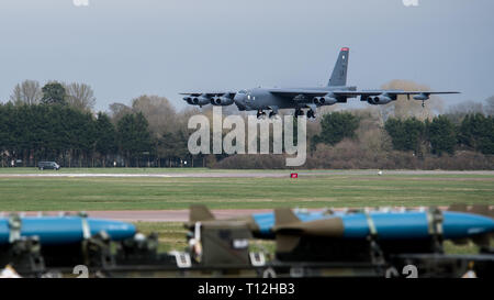 A B-52 Stratofortress deployed from Barksdale Air Force Base, La., lands on the flight line at RAF Fairford, England, in support of U.S. Strategic Command's Bomber Task Force in Europe, March 21, 2019. During the BTF, the B-52s will conduct missions throughout the U.S. Air Forces in Europe and Air Forces Africa theater, including locations from the Arctic to the Sahara Desert. (U.S. Air Force photo by Airman 1st Class Tessa B. Corrick) - Stock Photo