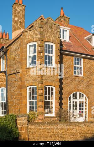 Carstone houses, Hunstanton, Norfolk, England, UK - Stock Photo