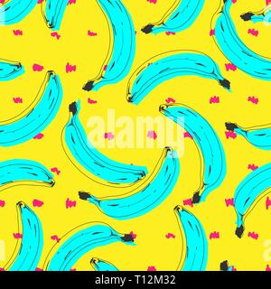 Seamless pop art banana pattern randomly distributed on color background. Stripped or dotted background. Vector Illustration. - Stock Photo
