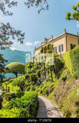 Garten der Villa Balbianello am Lago di Como, Lenno, Lombardei, Italien - Stock Photo