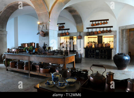 Kitchen of once upon a time in Pena palace exposition. Sintra, Portugal - Stock Photo