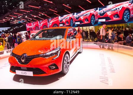 Geneva / Switzerland - march 9 2019 : Geneva International Motor Show,  New Renault Clio - Stock Photo