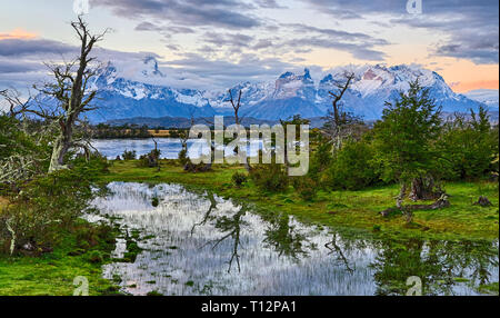 Evening at Rio Serrano - Torres del Paine N.P. (Patagonia, Chile) - Stock Photo