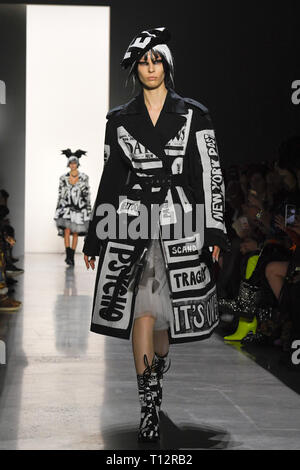NEW YORK, NY - FEBRUARY 08: Remington Williams walks the runway for Jeremy Scott during New York Fashion Week: The Shows at Spring Studios on Febraury - Stock Photo