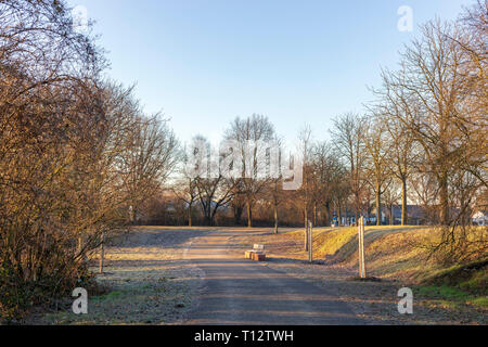 Beautiful spring landscape at the morning park in Frankenthal - Stock Photo