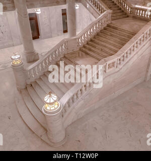 Marble stairs inside Utah State Capital Building. The magnificent marble staircase inside Utah Sate Capital Building in Salt Lake City. View of the be - Stock Photo