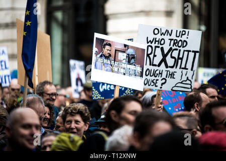 Protester are seen holding placards during the demonstration. Thousands of protesters gathered at central London to take part in the Put It to the People March. The march from Park Lane to Parliament Square was organised by the Peoples Vote campaign and is calling for a public vote on the Governments final Brexit deal. - Stock Photo