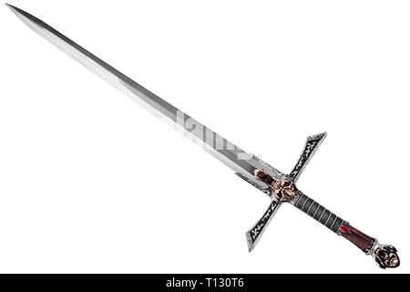 Sword disposed by diagonal, isolated on white background. - Stock Photo