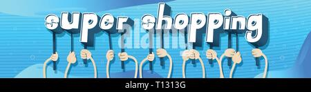 Diverse hands holding letters of the alphabet created the words Super Shopping. Vector illustration. - Stock Photo