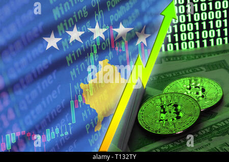 Kosovo flag and cryptocurrency growing trend with two bitcoins on dollar bills and binary code display. Concept of raising Bitcoin in price and high c - Stock Photo