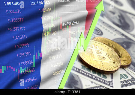 France flag and cryptocurrency growing trend with two bitcoins on dollar bills. Concept of raising Bitcoin in price against the dollar - Stock Photo