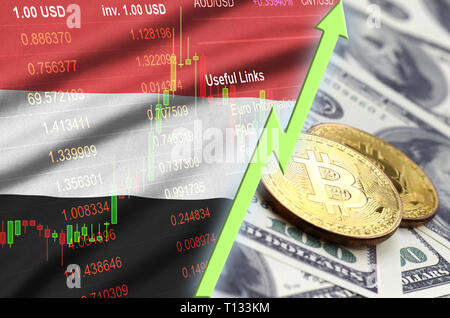 Yemen flag and cryptocurrency growing trend with two bitcoins on dollar bills. Concept of raising Bitcoin in price against the dollar - Stock Photo