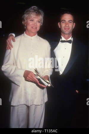 BEVERLY HILLS, CA - MARCH 3: Actress Louise Fletcher and son Andrew Wilson Bick attend the 22nd Annual American Film Institute (AFI) Lifetime Achievement Award Salute to Jack Nicholson on March 3, 1994 at the Beverly Hilton Hotel in Beverly Hills, California. Photo by Barry King/Alamy Stock Photo - Stock Photo