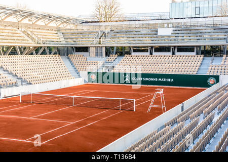 General view of the Simonne Mathieu tennis clay court, the latest of Roland Garros stadium in Paris, where the French Open takes place. Stock Photo
