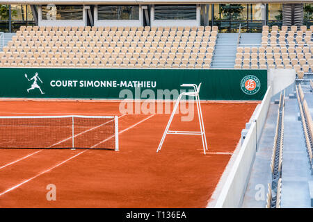 The Simonne Mathieu tennis clay court is the latest of Roland Garros stadium in Paris, where the French Open takes place. Stock Photo