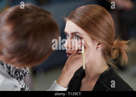 professional makeup artist makes makeup for a young woman - Stock Photo