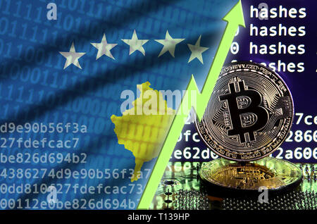 Kosovo flag and rising green arrow on bitcoin mining screen and two physical golden bitcoins. Concept of high conversion in cryptocurrency mining - Stock Photo