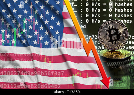 United States of America flag and falling red arrow on bitcoin mining screen and two physical golden bitcoins. Concept of low conversion in cryptocurr - Stock Photo