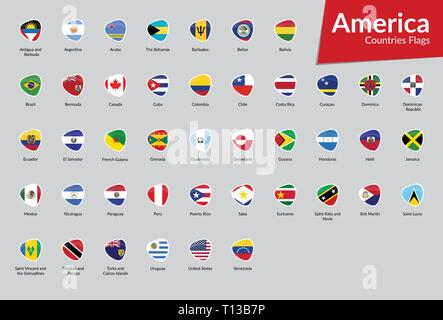 American Continent Countries Flags vector icon collection - Stock Photo