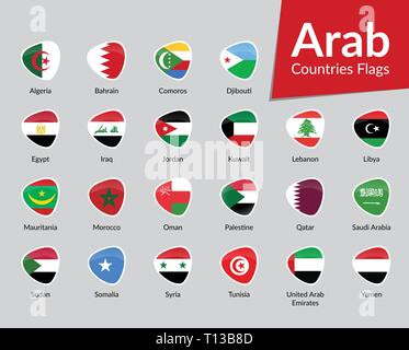 Arab Countries Flags vector icon collection - Stock Photo