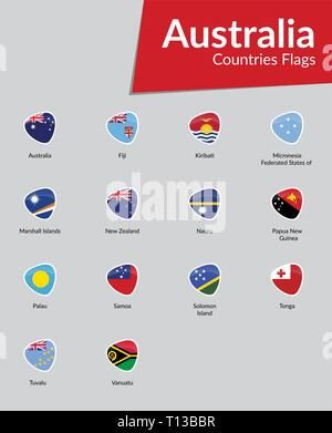 Australian Continent Countries Flags vector icon collection - Stock Photo