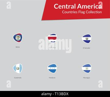 Central America Continent Countries Flags vector icon collection - Stock Photo