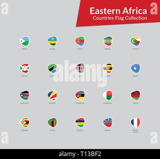 Eastern Africa Continent Countries Flags vector icon collection - Stock Photo