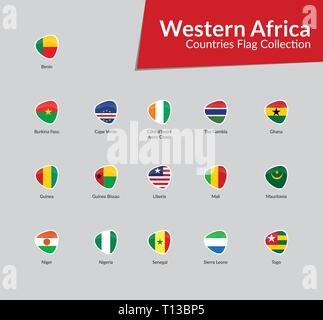 Western Africa Continent Countries Flags vector icon collection - Stock Photo