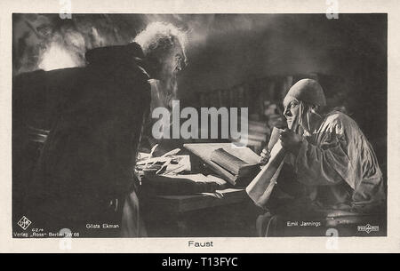 Promotional photography of Gösta Ekman and Emil Jannings in Faust (1926) - Silent movie era - Stock Photo