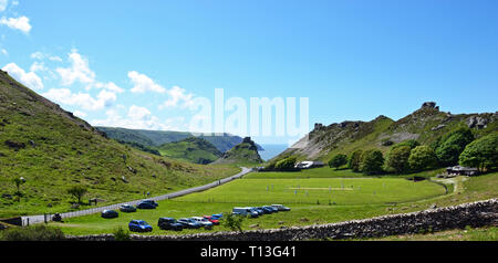 Cricketers in the Valley of the Rocks, near Lynton and Lynmouth, Devon, UK - Stock Photo