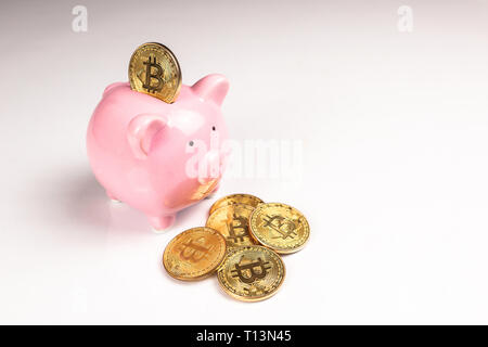 Putting bitcoin to piggy bank, new virtual electronic and digital money, hodl investment concept - Stock Photo